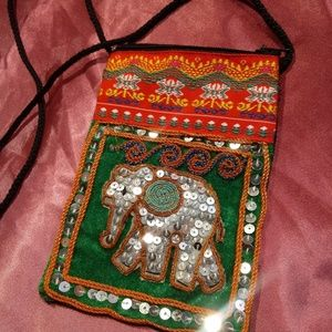 💞🆕💞 🐘 Handmade Sequined Boho Elephant Purse
